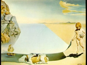 dali-at-the-age-of-six-when-he-thought-he-was-a-girl-lifting-the-skin-of-the-water-to-see-the-dog-sleeping-in-the-shade-of-the-sea